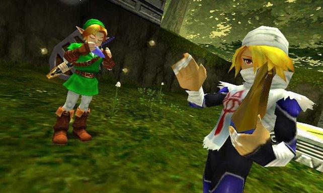 Link und Sheik musizieren.