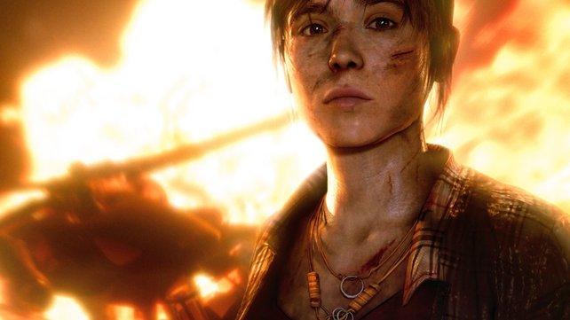 Jodie vor einem lodernden Inferno. Das Mädchen trägt eine schwere Last auf ihren jungen Schultern.