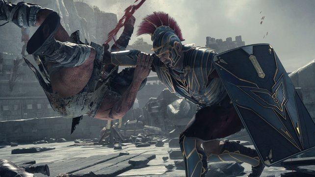 Sehr akrobatisch, wie der Römer den Barbaren massakriert.