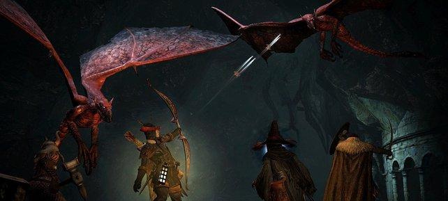 Gegen fliegende Monster helfen Fernwaffen.