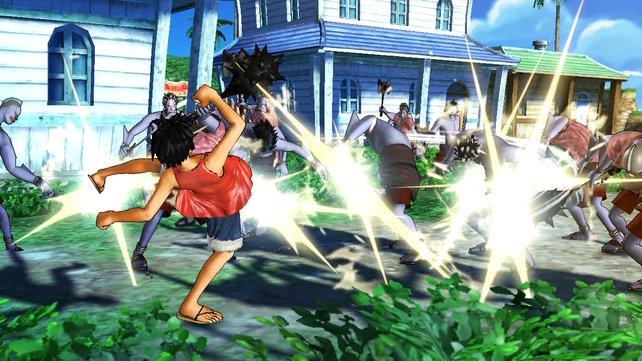 Ruffy verprügelt oft mehrere Gegner gleichzeitig.