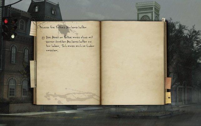 Im Tagebuch wird alles Wichtige notiert.