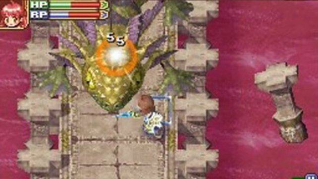 Daran muss man sich erst mal gewöhnen: Ein Landwirt, der gegen Konami-mäßig riesige Endgegner kämpft.