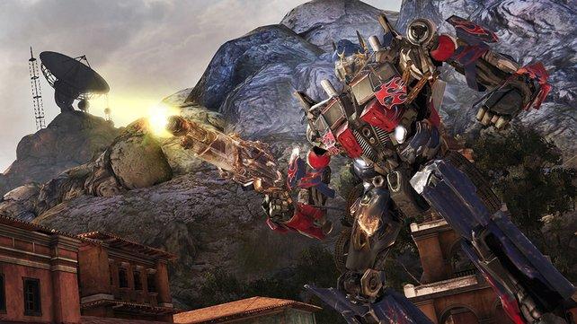 Optimus Prime, der Anführer der Autobots, in Pose.