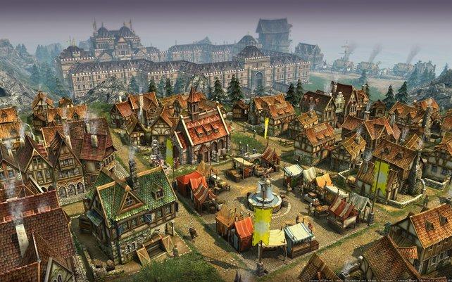 Im Hintergrund ist ein Palast mit individueller Architektur zu sehen.