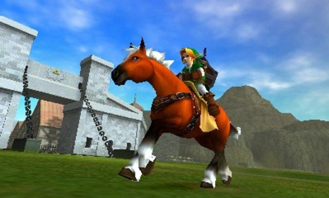 Link auf Epona vor den Toren von Hyrule.