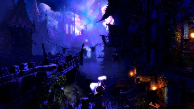Geschmeidig schleicht Zonya auf einem Seil durch eine dunkle Stadt.