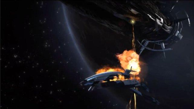 Schockierend: Mass Effect 2 beginnt mit der Zerstörung der Normandy.
