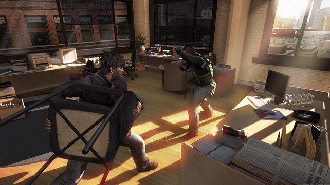 Auch ein Stuhl kann eine ganz passable Waffe abgeben.