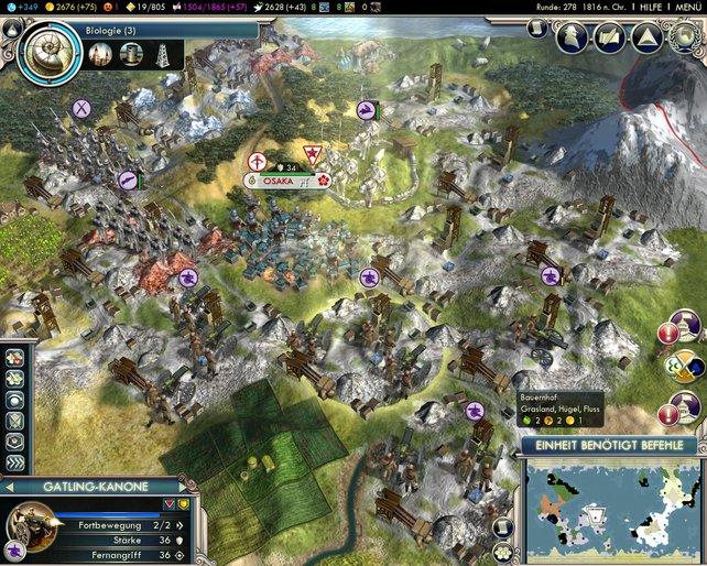Neue Militär-Einheiten (hier die Gatling-Kanone) ergänzen die Belagerungsmaschinerie.