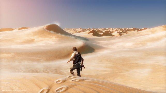 Drake stakst durch die Wüste.