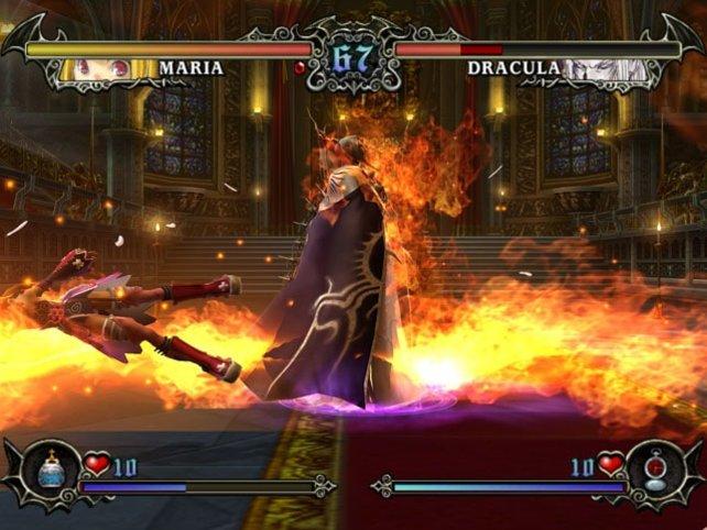 Maria gegen Dracula im Prügelspiel Castlevania Judgement.
