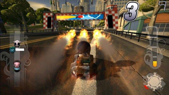 Auch hier kann Modnation Racers nicht mit Mario Kart mithalten.
