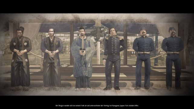 Durch das Abkommen mit den ausländischen Großmächten sind Japans Tore geöffnet.