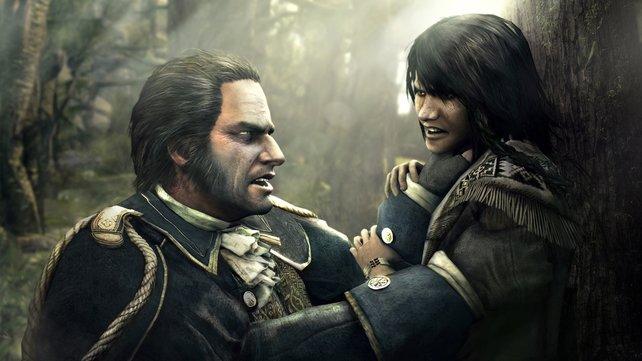Hier heißt Connor noch Ratohnhaké:ton. Und trifft zum ersten Mal auf seine Feinde.