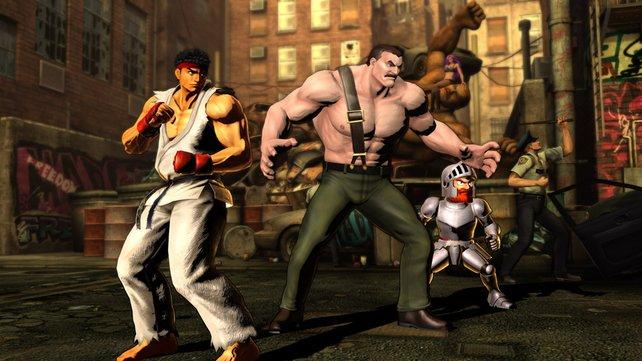 Nostalgie:Capcoms Klassikerhelden Ryu, Haggar und Arthur.