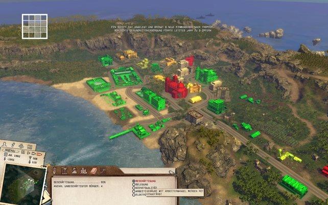 Die Farben machen euch auf Probleme aufmerksam und zeigen etwa, wo eure Insel die schönsten Ecken hat.