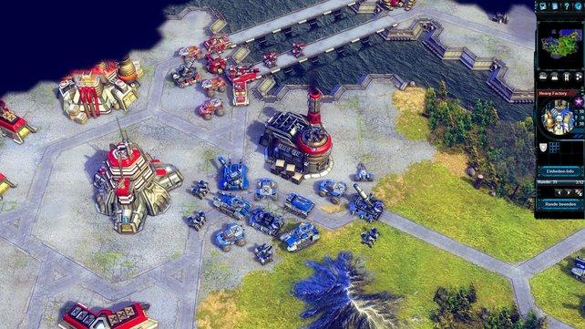 Die eigenen Truppen stehen schon vor der feindlichen Basis. Die gegnerischen Einheiten reagieren zu spät.