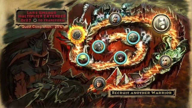 Die Karte zum Quest-Modus zeigt die unterschiedlichen Kapitel.
