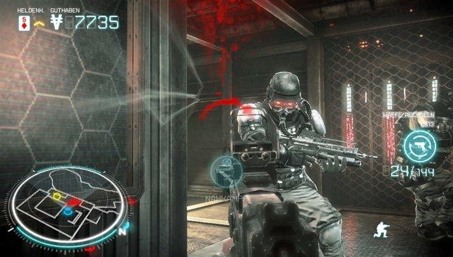 Dank Radarschirm unten links kann euch der Helghast-Soldat nicht überraschen .
