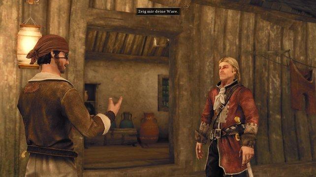 Wild gestikulierend erklärt euer namenloser Held dem Händler, was er gerne kaufen würde.
