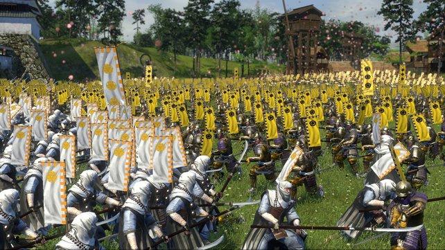 Cleverer Schachzug: Die KI hält unsere gepanzerten Samurai mit ihren langen Piken auf Distanz.