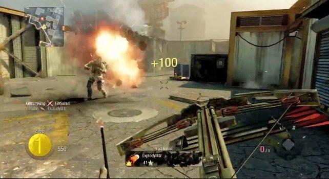 Die Armbrust mit Explosivgeschossen benötigt lange zum Nachladen.