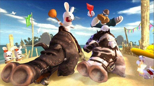 Wird Rayman das Warzenschwein Rennen gewinnen?