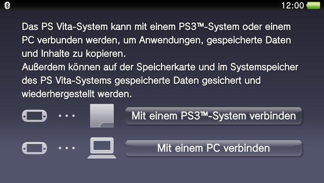 Über den Inhalts-Manager können Daten zwischen Vita und PC/PS3 übertragen werden - nicht aber auf Mac.