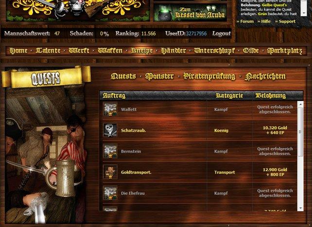 In der Kneipe sind eine Menge Quests, später ruft die Piratenprüfung. Sie sorgt für den Levelaufstieg.