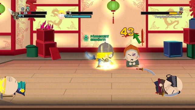 South Park - Der Stab der Wahrheit bietet lustige Kampfszenen mit spaßig inszenierten Effekten.