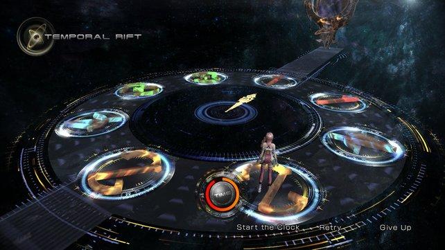 Serah löst ein Rätsel. Zeit spielt in Final Fantasy 13-2 eine wichtige Rolle.
