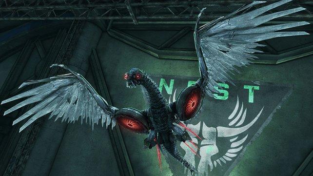 Mit der geflügelten Drohne infiltriert ihr eine Basis der Autobots.