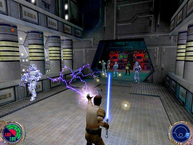 Eure Macht-Blitze schwächen die Sturmtruppen. Sie haben keine Chance. Ihr seid schließlich ein Jedi.
