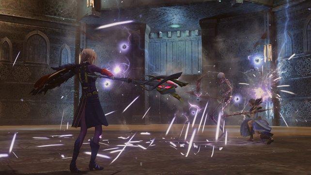 Der hat gesessen. Lightning schleudert Blitze auf einen Gegner. Im Hintergrund mischt Fang mit.