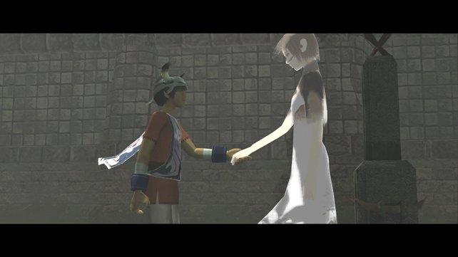 Freunde für immer: Ico, der kleine junge mit den Hörnern und Yorda, das gefangene Mädchen.