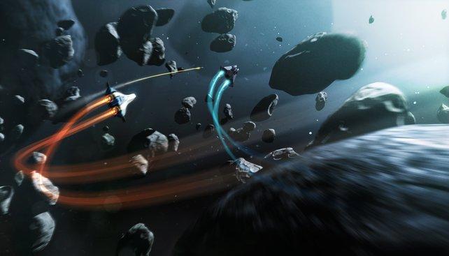 Ein Schiffskampf in einem Asteroidenfeld ist eher etwas für Draufgänger, die aufs Kopfgeld aus sind.