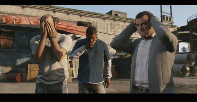 """Trevor, Franklin und Michael machen die """"Drei Affen""""-Geste."""