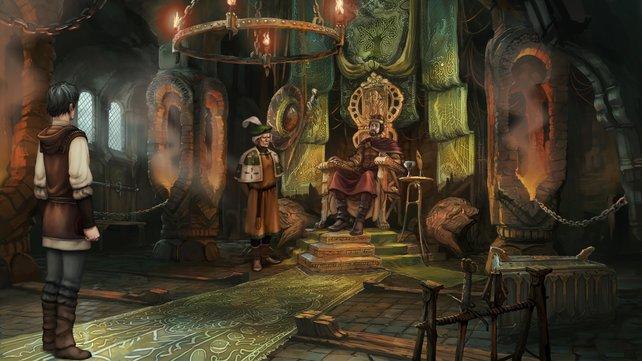 Protagonist Geron bietet König Efferdan I. seine Hilfe als Fallensteller an.