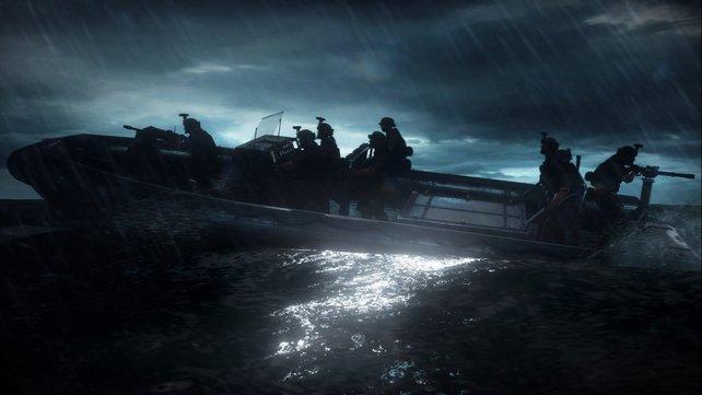 Im Kanonenboot geht's zum nächsten Einsatzziel.