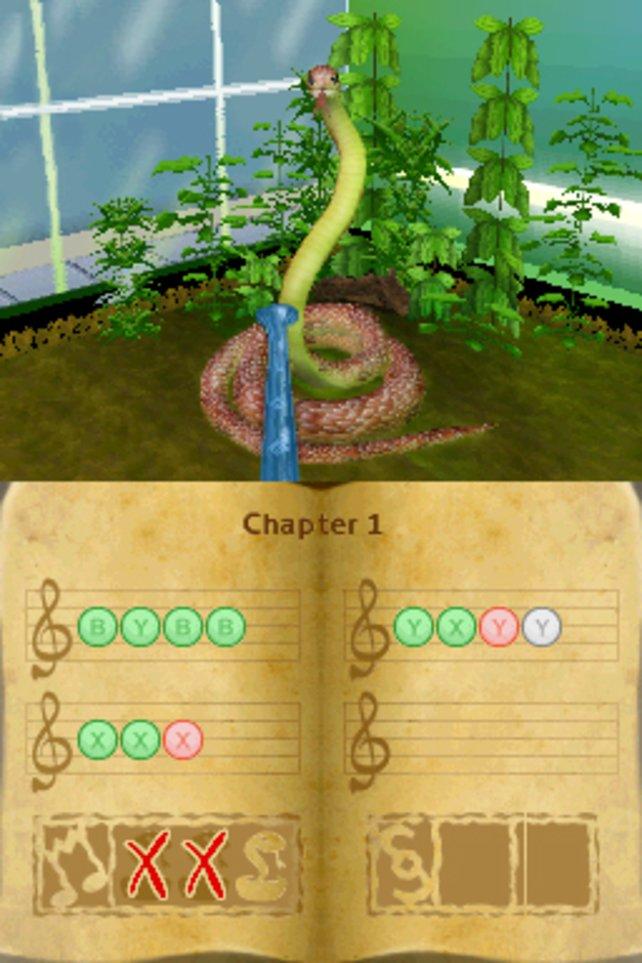 Eines der Minispiele: Schlangenbeschwörung