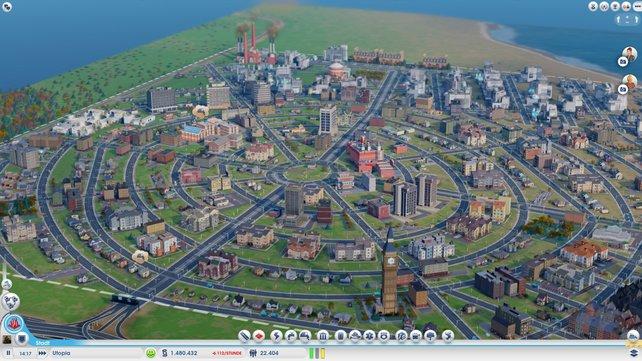 Die Stadt ist zugebaut - die weiß-gestrichelten Linien markieren die Grenze.