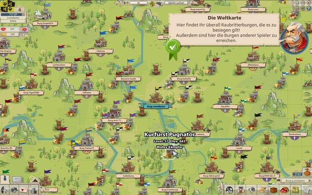 Auf der Weltkarte seht ihr auch die Burgen anderer Spieler.
