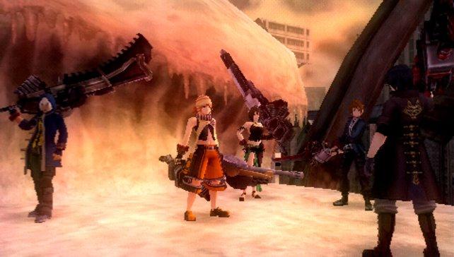 Von links: Soma, Kota, Sakuya und eure Spielfigur. Veteran Lindow dreht uns den Rücken zu.