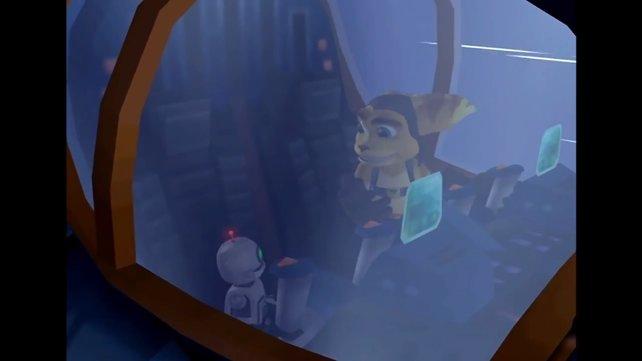 Ratchet und Clank stellen sich einander vor.