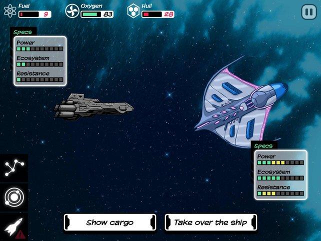 Im Weltall sucht ihr ständig nach Nachschub und wechselt auch mal das Schiff.