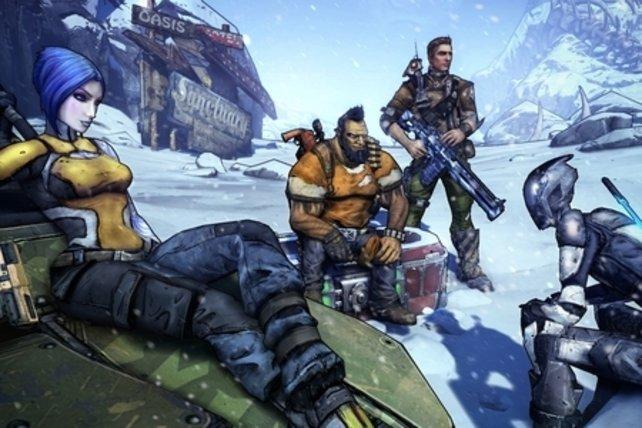 Die vier Helden in einer der neuen Schneelandschaften.