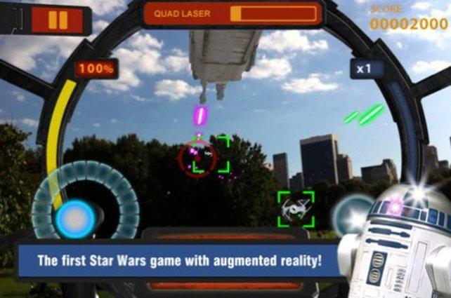 Witzig: In Star Wars Arcade ballert ihr in eure bekannte Umgebung dank Kamerafunktion.