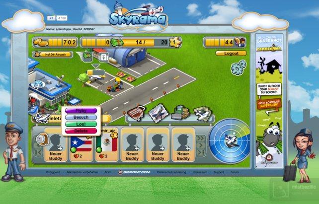 In Skyrama könnt ihr die Flughäfen anderer Spieler begutachten.
