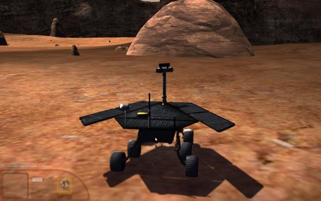 Mit dem Rover geht's über matschige rote Texturen.